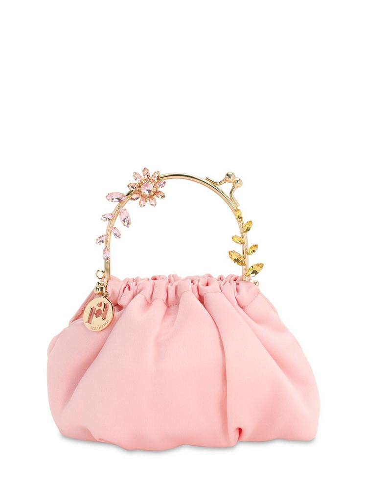 ROSANTICA Small Dalma Satin Top Handle Bag in blush
