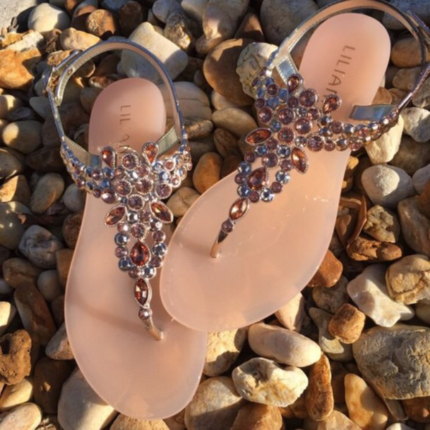 shoes sandals blush pink crystals decoration liliana liliana shoes rose gold rhinestones jellies