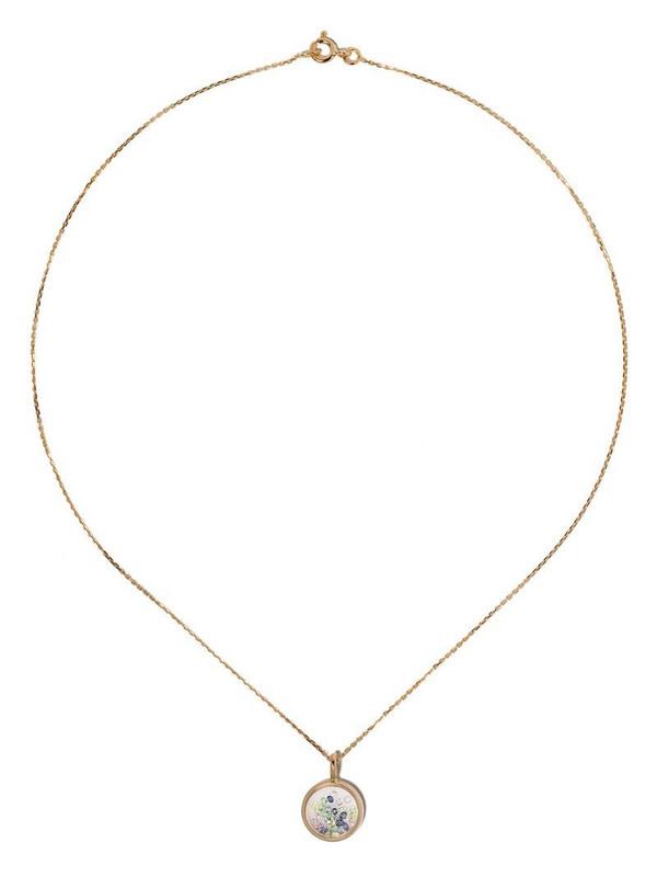 Aurelie Bidermann 18kt yellow gold sapphire Chivor mini medallion necklace