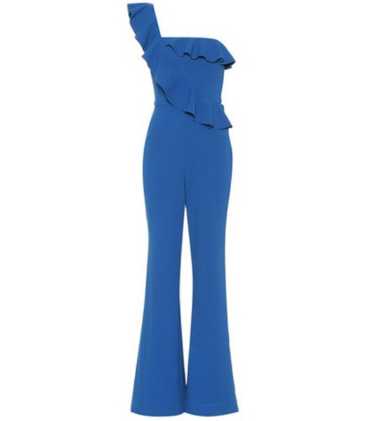 Rebecca Vallance One-shoulder crêpe jumpsuit in blue