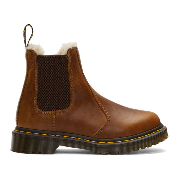 Dr. Martens Brown 2976 Fur Lenore Chelsea Boots