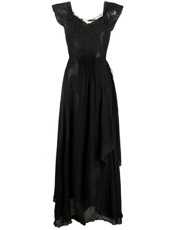 A.N.G.E.L.O. Vintage Cult 1930s floral lace detailing dress in black
