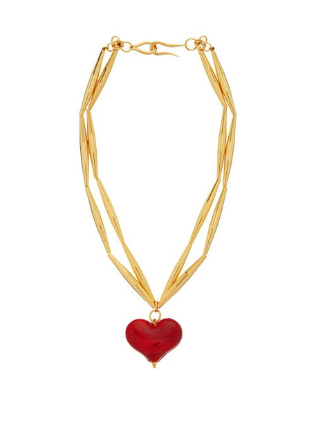 Tohum - Cuore 24kt Gold-plated Heart Pendant Necklace - Womens - Red Gold