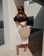 skirt,midi skirt,white skirt,sandal heels,woven bag,black top,crop tops,off the shoulder top