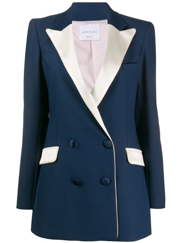 Hebe Studio two tone double breasted blazer in blue