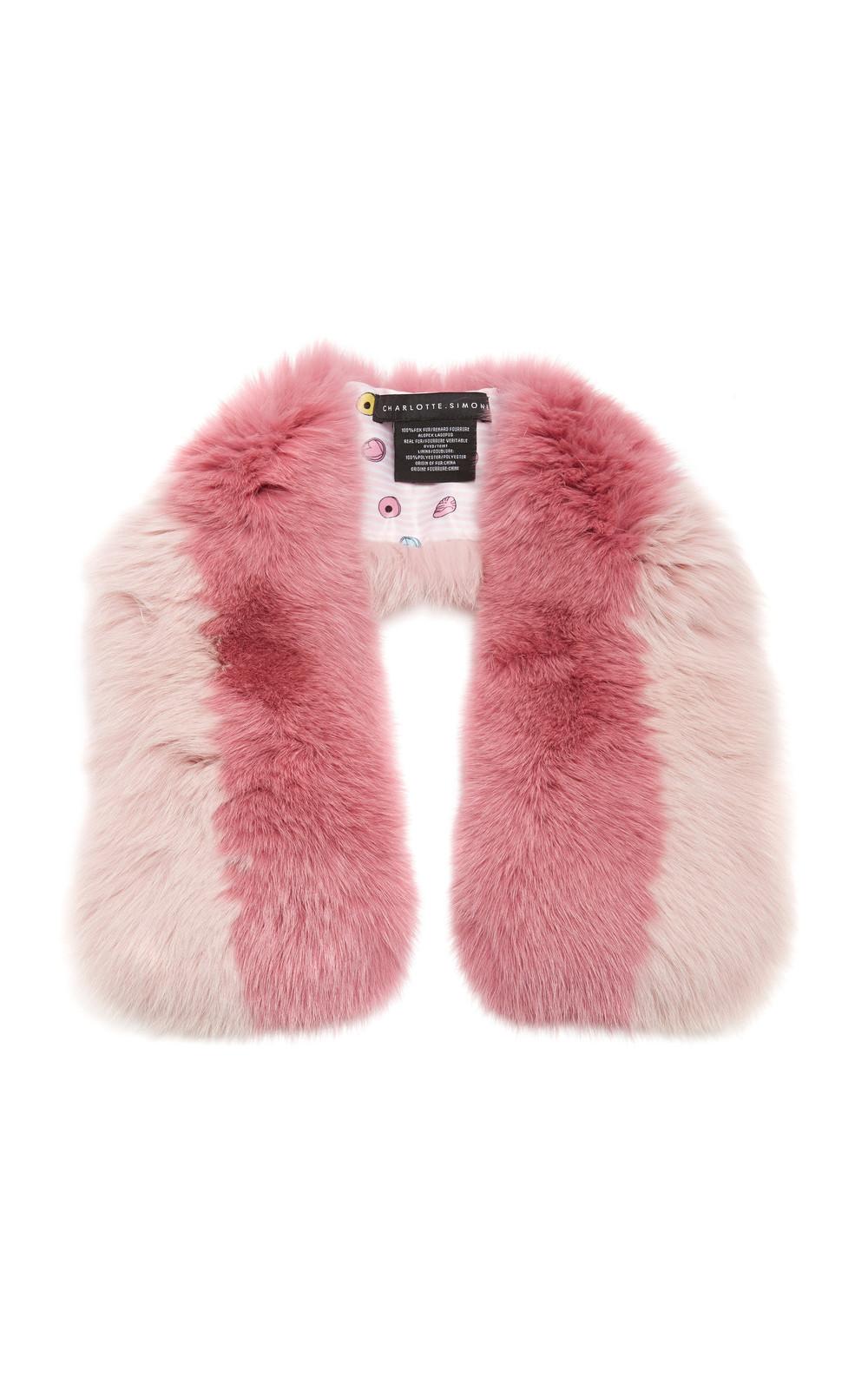 Charlotte Simone Cuddle Cuff Two-Tone Fur Stole in pink