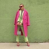 coat,pink coat,long coat,pumps,straight pants,blazer,grey bag,striped top