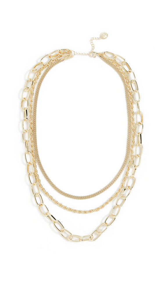 Jules Smith Triple Layered Chain Necklace in gold