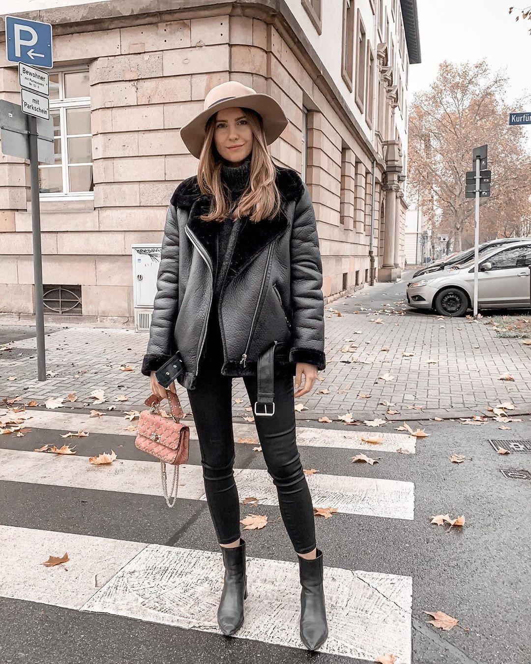 jacket black leather jacket shearling jacket ankle boots black boots black skinny jeans black sweater turtleneck sweater bag hat