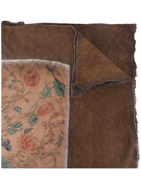 Avant Toi floral print scarf in brown