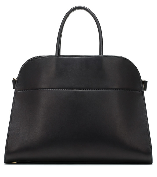 The Row Margaux 15 leather tote in black
