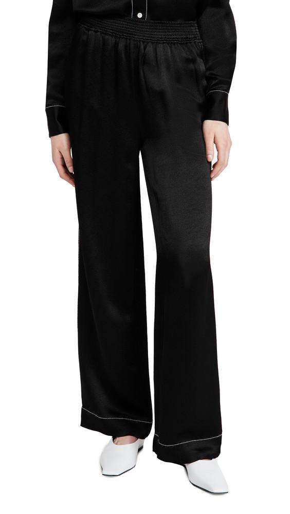 Proenza Schouler White Label Dobby Crepe Pajama Pants in black