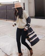 jeans,skinny jeans,high heel pumps,grey cardigan,v neck,sweater,knitted sweater,knitted cardigan,felt hat