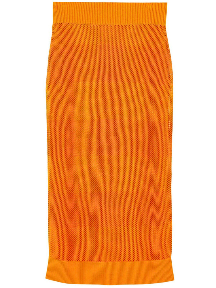 BURBERRY Zafina Knit Midi Pencil Skirt in orange