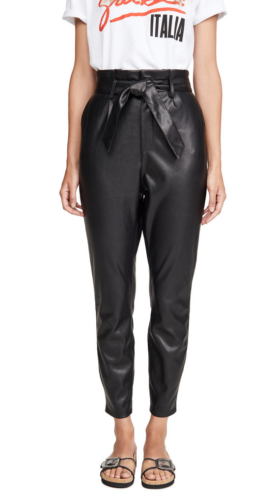BB Dakota Vegan Leather Paper Bag Pants in black