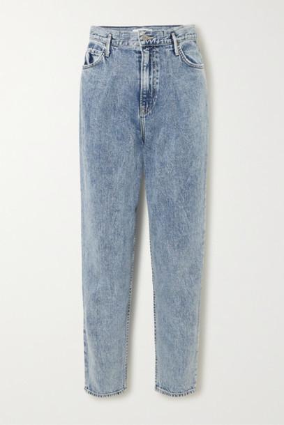 GRLFRND - Teagan Pleated High-rise Straight-leg Jeans - Light denim