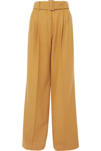Paul & Joe - Belted Wool-blend Wide-leg Pants - Mustard
