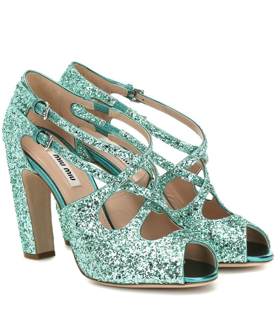 Miu Miu Glitter sandals in blue