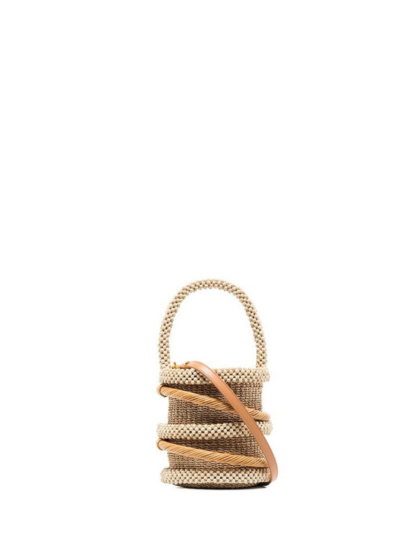 Aranaz brown woven beaded bucket bag in neutrals