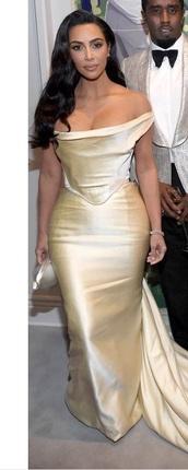 dress,kim kardashian,gold dress,off the shoulder dress,champagne dress