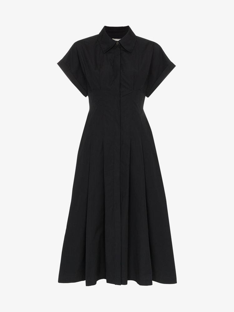 Three Graces Alette Button-Down Cotton Shirt Dress in black
