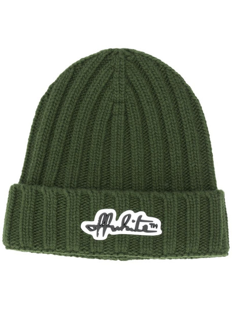 Off-White logo-patch ribbed beanie hat in green