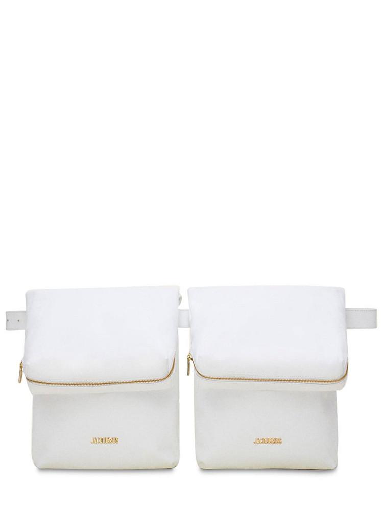 JACQUEMUS La Ceinture Banan Leather Belt Bag in white