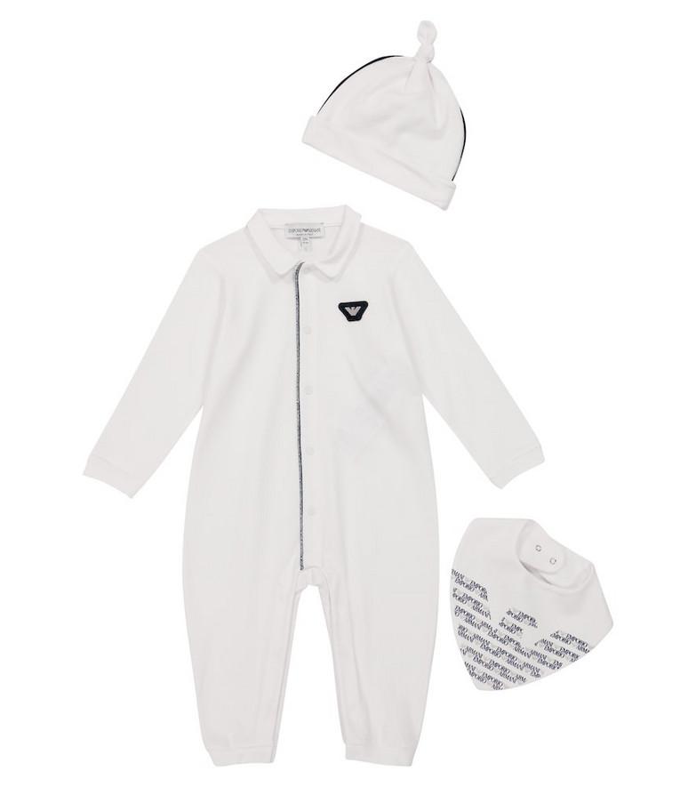 Emporio Armani Kids Baby cotton-blend onesie, hat and bib set in white