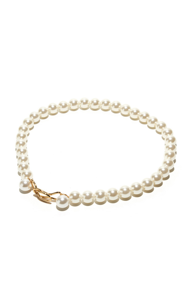 Lele Sadoughi 14K Gold-Plated Brass and Pearl Belt in white