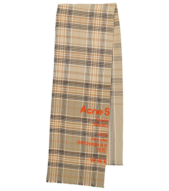 Acne Studios Checked wool scarf in beige
