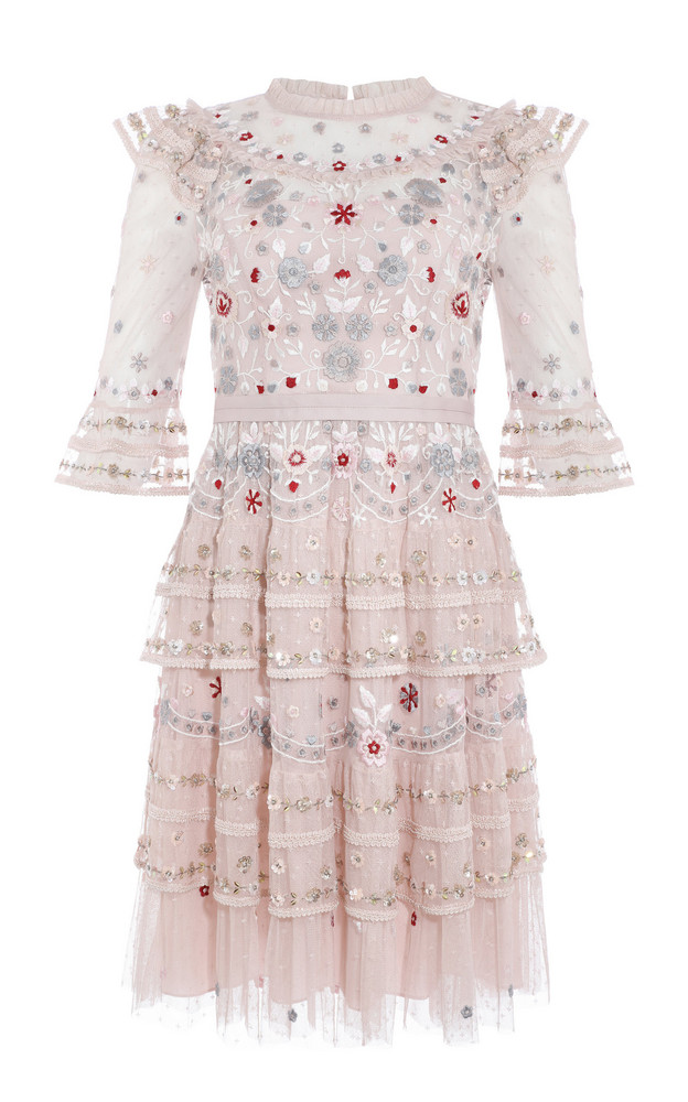 Needle & Thread Eden Ruffled Floral-Embroidered Tulle Mini Dress Size: in pink