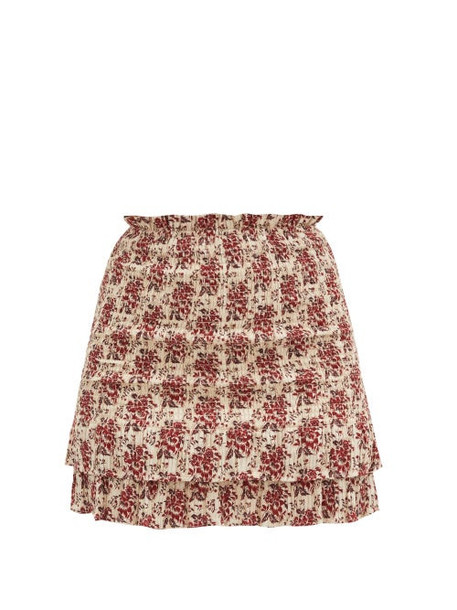 Sir - Floré Floral-jacquard Shirred Cotton-blend Skirt - Womens - Red Print