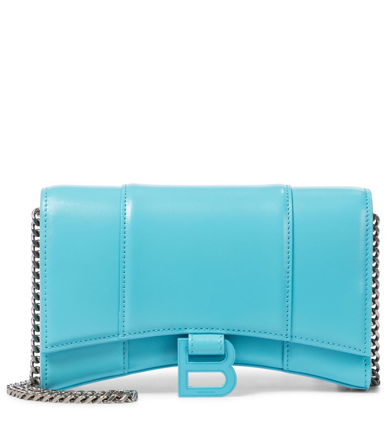 Balenciaga Hourglass Mini leather shoulder bag in blue