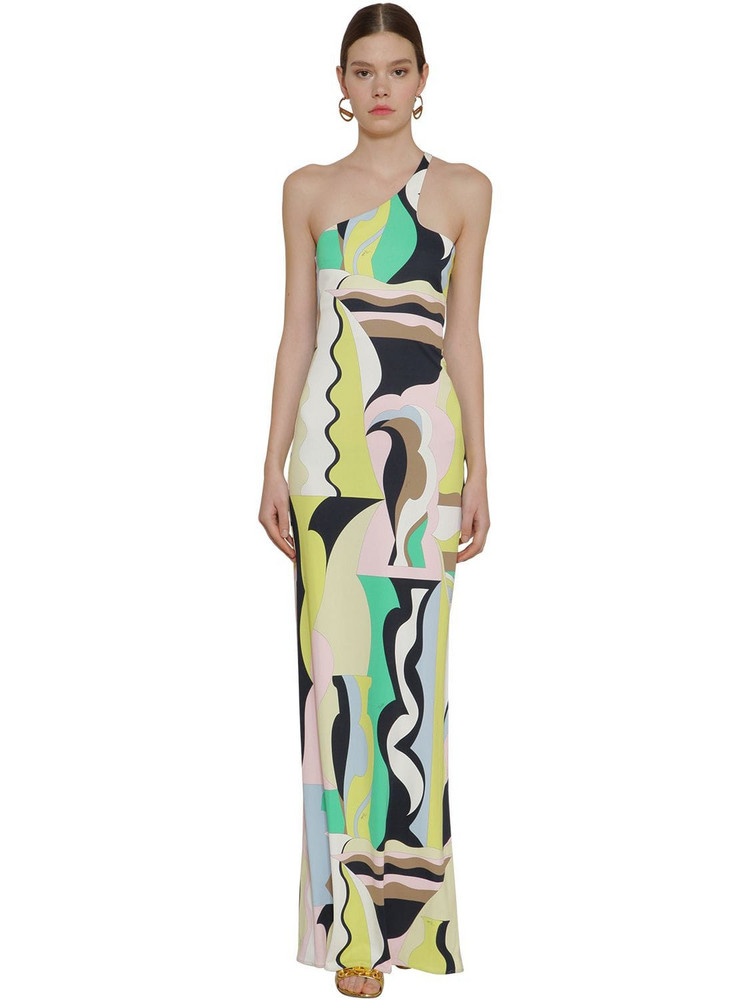 EMILIO PUCCI Printed One Shoulder Jersey Knit Dress