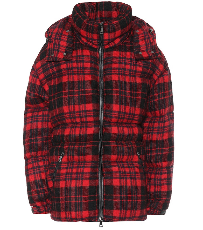 Moncler Checked wool down coat in red