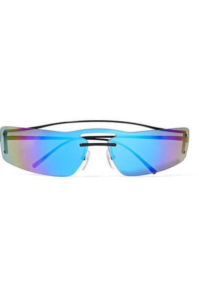 Prada - Square-frame Metal Mirrored Sunglasses - Blue