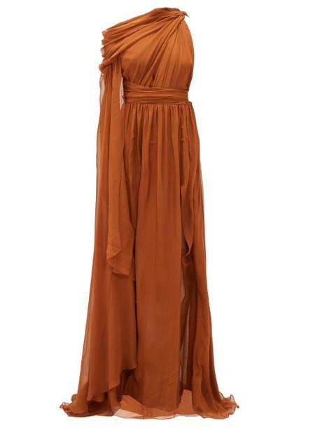 Dundas - One-shoulder Silk-chiffon Gown - Womens - Brown