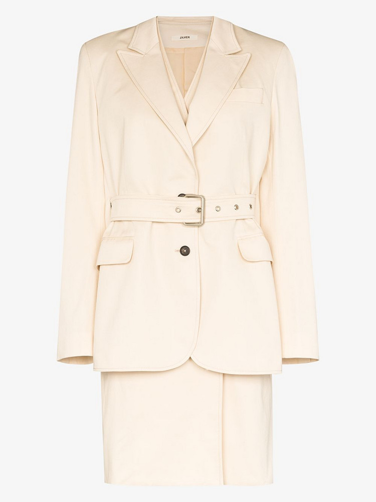 Zilver Double layer belted trench coat in neutrals