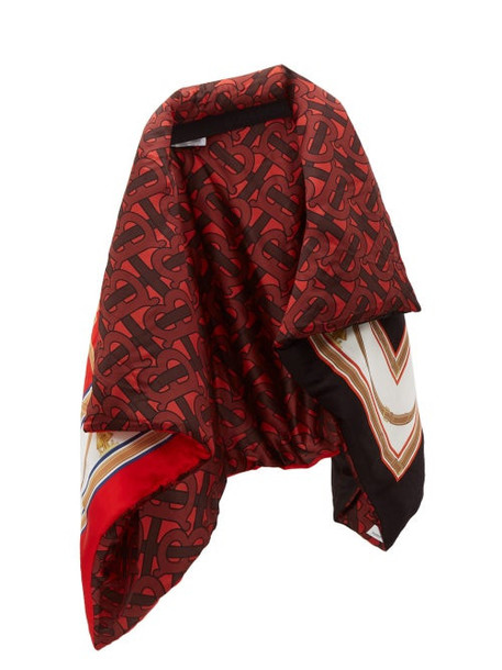 Burberry - Tb Monogram And Archive Print Padded Silk Cape - Womens - Red Multi