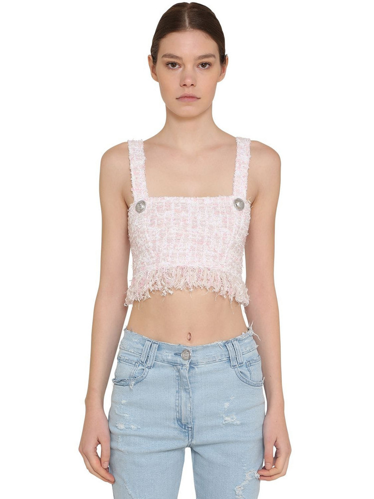 BALMAIN Fringed Lurex Tweed Crop Top in pink