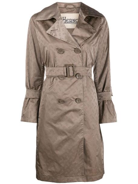 Herno logo print trench coat in brown