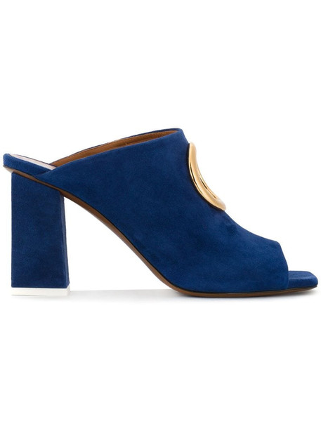 NEOUS Blue Suede Gold Ring 85 mules