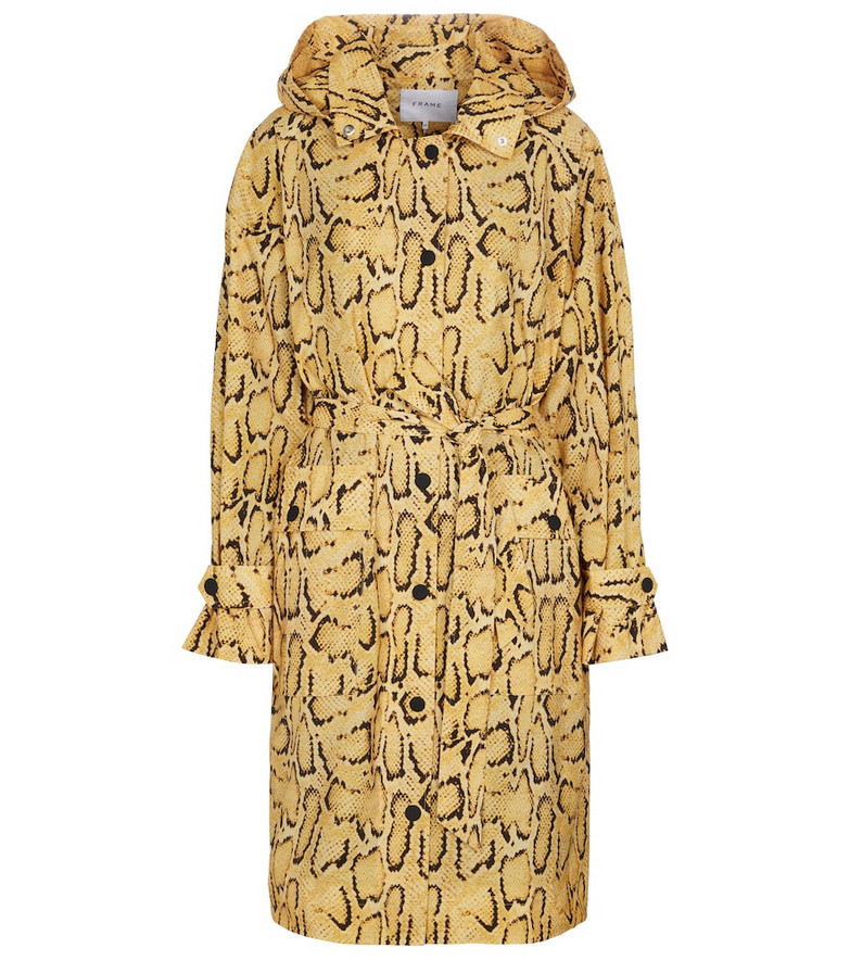 FRAME Python-print trench coat in yellow