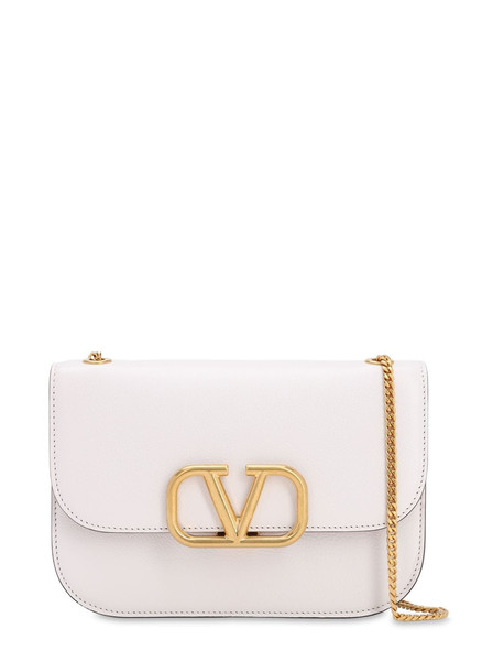 VALENTINO Vlock Small Leather Shoulder Bag in bianco