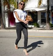 top,white t-shirt,grey jeans,white sandals,brown bag
