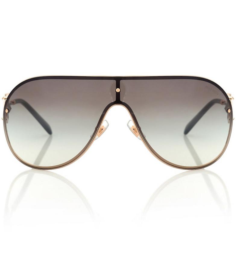Miu Miu Embellished aviator sunglasses in gold