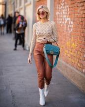 pants,leather pants,fendi,blue bag,sweater,white boots