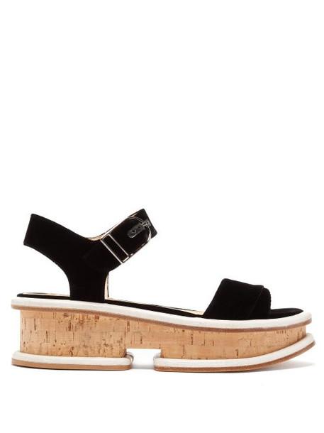Gabriela Hearst - Bradley Velvet Flatform Sandals - Womens - Black