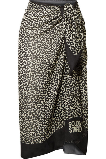 Solid & Striped - Leopard-print Voile Pareo - Pastel yellow
