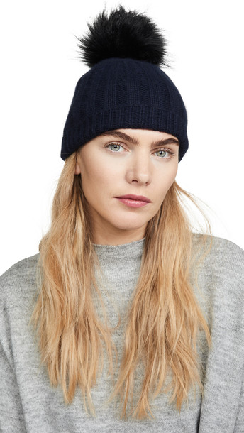 White + Warren White + Warren Wide Rib Cashmere Beanie With Pom Pom